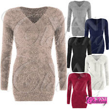 WOMENS FLUFFY SOFT KNIT V NECK JUMPER LADIES MOHAIR EYELASH LOOK FUR SWEATER TOP
