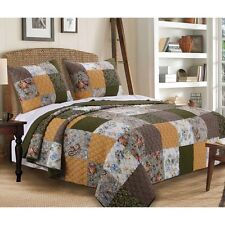 BEAUTIFUL REVERSIBLE COUNTRY PATCHWORK ROSE GOLD BROWN GREEN FLORAL QUILT SET