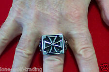 Large Iron Cross Ring Men's - Stainless Steel - SR4014-J