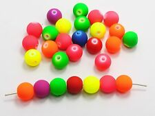 "100 Matte Fluorescent Neon Beads Acrylic Round Beads 12mm(1/2"") Pick Your Color"