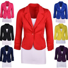 New Womens Candy Color Slim Fit Blazer Jackets Suit Casual One Button Coat Tops