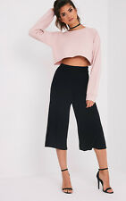 PrettyLittleThing Womens Ladies Basic Black Culottes Pants Bottoms