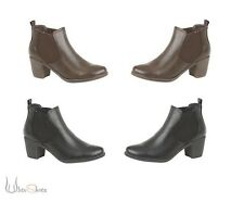 New Ladies classic chelsea Mid Heel Boots Black Brown Pull on Size 3-8 UK