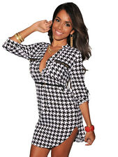 Geometric Houndstooth Print Mini Vintage Dress women casual clubwear Party Dance