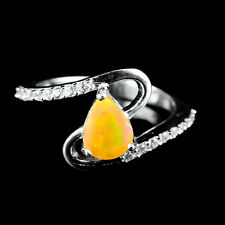 AMAZING NATURAL 8X6mmFIRE RAINBOW LUSTER FIRE OPAL-W-CZ STERLING 925 SILVER RING