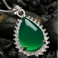 Green chalcedony S925 Pure Silver Pendant Jewelry 0500101005