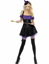Adult Ladies Sexy Purple Wicked Witch Halloween Fancy Dress Outfit Costume