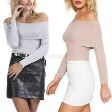 Sexy Women Knitted Sweater Off Shoulder Crop Top Autumn Jumper Knitwear Pullover