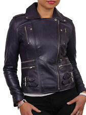 Womens Real Sheepskin Leather Biker Jacket -  Brandslock Leather  Jacket  BNWT