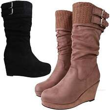 Womens Faux Suede Mid Wedge Heel Mid Calf Casual Slouch Boots
