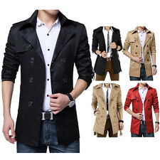 Men Fashion Wind Coat Korea Stylish Slim Fit Long Jacket Fleece Addable Outwear