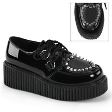 DEMONIA CREEPER-108 Women's See-through Heart Cutout Pointed Studs Creeper Shoes