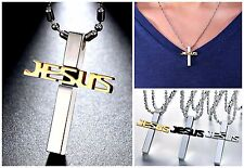"316L Stainless Steel ""JESUS"" CROSS Pendant Necklace w/Chain & Gift Box-3 COLORS"