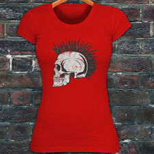Punk Rock Skulls Mohawk Hipster Goth Gothic Death Womens Red T-Shirt