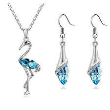 "FLAMINGO PENDANT & EARRINGS SET WITH ZIRCONIA AUSTRIAN CRYSTALS & 18"" chain"