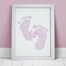 Personalised Word Art New Baby Boy Girl Footprints Picture Print Gift Present