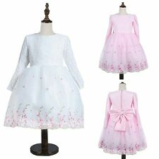 Kids Elegant Long Sleeve Toddler Princess Tulle Bowknot  Pageant Party Dress