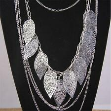 Womens Multilayer Hollow Leaves Pendant Long Sweater Chain Jewelry Necklace GX