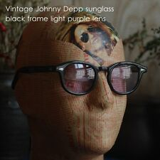 Retro Vintage Johnny Depp style sunglasses suniess black frame light purple lens