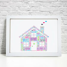 Personalised Word Art New Home Family House Warming Gift Present Picture Print