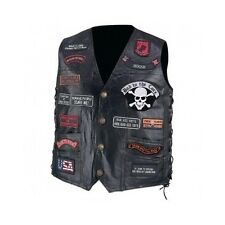 Leather Motorcycle Vest 23 Patches Men's Genuine Buffalo Diamond Plate USA Biker
