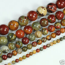 "Natural Multi-color Picasso Jasper Round Loose Gemstone Beads 15.5"" 4-12mm pick"