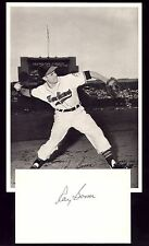 "VTG 1940's CLEVELAND INDIANS ""RAY BOONE"" BASEBALL TEAM PHOTO w/SIGNED INDEX CARD"