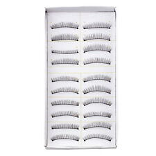 10 Pair Women Party Curly False Eyelashes Make Up Facial Cosmetic Black SV