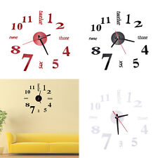 Unqiue Modern Art Large Wall Clock 3D Sticker Design Home Office Room Decor  IO
