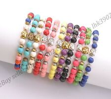 8MM Turquoise Gemstone Round Beads Buddha Head Stretchy Bracelets Assorted Stone