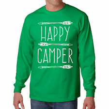 Shirt Happy Camper Long Sleeve Camping Tee Camp S Hiking Outdoor Fishing Funny L