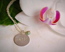 Name Necklace Sterling Silver Personalized Birthstone Disc Smooth or Hammered
