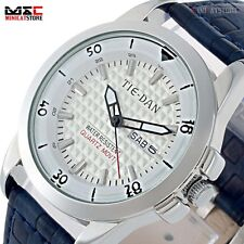 Casual Leather Band Sport Date Men's Analog Quartz Stainless Steel Wrist Watch
