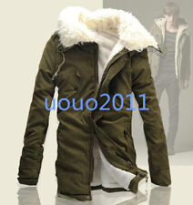 Winter Men Faux Fur Hooded Fleece Jacket Military Trench Coat Parka Thick Cotton
