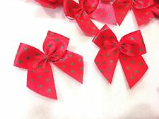 50 POLKA DOT RED GREEN MINI RIBBON BOW GIFT CHRISTMAS CARD SCRAPBOOK CRAFT DIY