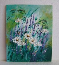 Daisies Lavender Impasto Original Oil Painting Meadow Flowers EU Artist Offer