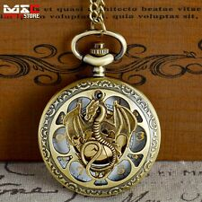 Steampunk Dragon Vintage Pocket Watch Quartz Pendant Necklace Bronze Silver Gift