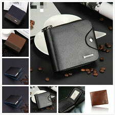 Mens Leather Wallet ID Card Holder Billfold Zipper Purse Bifold Clutch Handbag