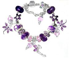 Fairy Purple Pink Dragonfly Swarovski European SP 925 Charm Bracelet 20 bead