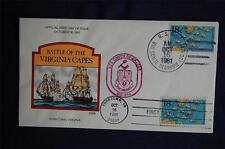 Battle of Yorktown Virginia Capes 18c Stamp FDC Handpainted Collins#O401 Sc#1938