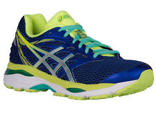 NEW WOMENS ASICS GEL-CUMULUS 18 RUNNING SHOES TRAINERS BLUE / SILVER / SAFETY YE