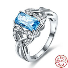 Bridal Wedding Swiss Blue Topaz Gemstone S925 Sterling Silver Ring Size 6 7 8 9