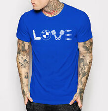 BMW Logo Love T-shirt Car Lover Gift Men's Blue Tee Shirt M - 3XL