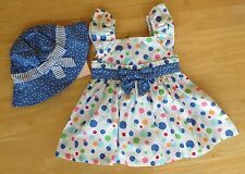 Gymboree Bubbly Whale Baby Girl 3-6 mo Bow Dots Dress Hat 3Pc Set  NEW