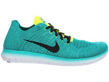 NEW MENS NIKE FREE RN FLYKNIT RUNNING SHOES TRAINERS CLEAR JADE / VOLT / RIO TEA