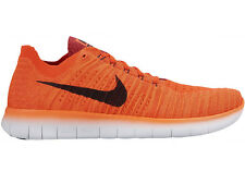 NEW MENS NIKE FREE RN FLYKNIT RUNNING SHOES TRAINERS BRIGHT CRIMSON / UNIVERSITY
