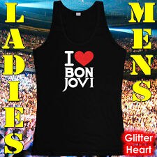 BON JOVI T-SHIRT – SINGLET – I LUV BON JOVI, RED GLITTER HEART– TEEN/ADULT SIZES
