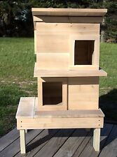Weather Resistant Cedar Wood Outdoor Cat House Shelter with Pitched Roof