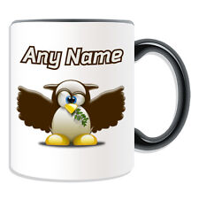 Personalised Gift Owl Mug Money Box Cup Funny Novelty Penguin Cartoon Eagle Name