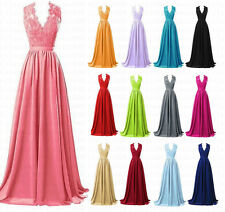 V-Neck Long Lace Formal Wedding Prom Gown Bridesmaid Dress Stock Size 6-18 New
